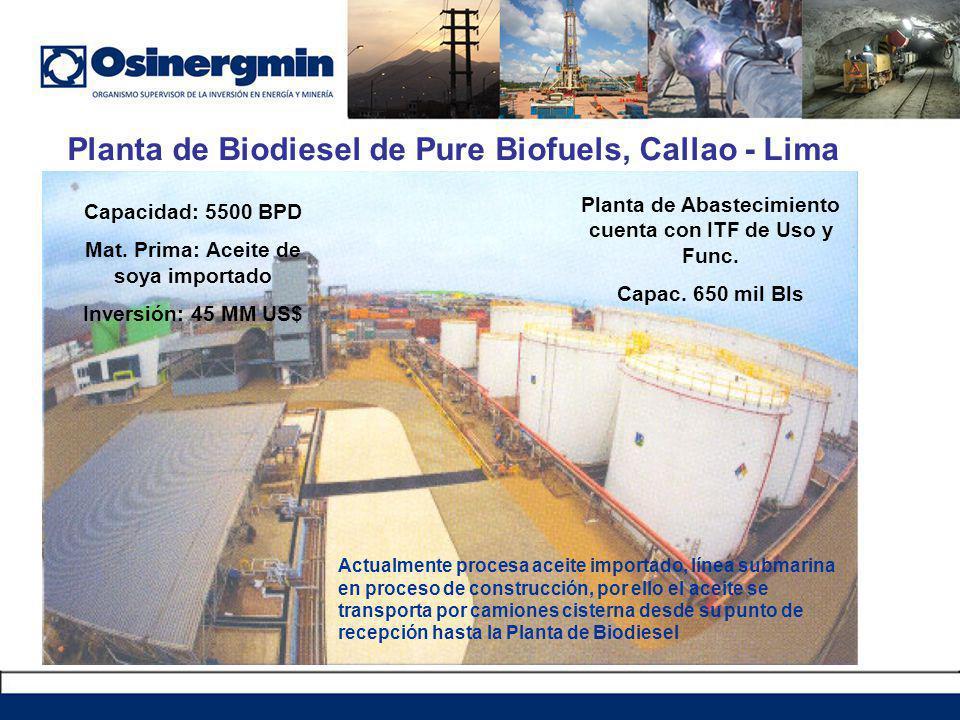 Planta de Biodiesel de Pure Biofuels, Callao - Lima Capacidad: 5500 BPD Mat.