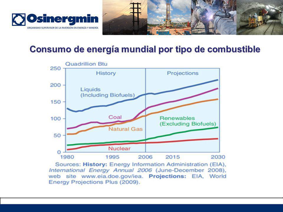 Consumo de energía mundial por tipo de combustible