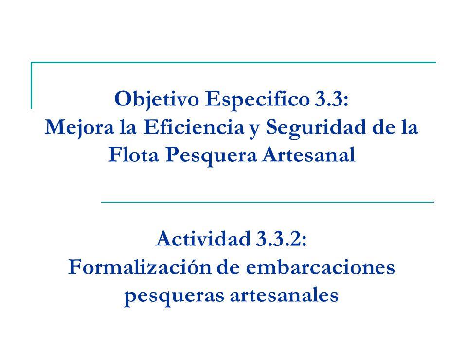 Objetivo Especifico 3.3: Mejora la Eficiencia y Seguridad de la Flota Pesquera Artesanal Actividad 3.3.2: Formalización de embarcaciones pesqueras artesanales