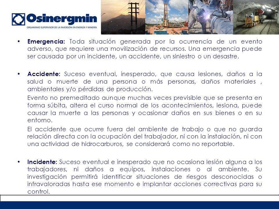 PROCEDIMIENTO PARA EL REPORTE DE EMERGENCIAS EN LAS ACTIVIDADES DEL SUBSECTOR HIDROCARBUROS RCD 088-2005-OS/CD 088-2005-OS/CD Artículo 2.- Obligación de informar: Las Empresas Supervisadas están obligadas a informar por escrito a OSINERG la ocurrencia de emergencias acaecidas en el desarrollo de las actividades vinculadas al subsector Hidrocarburos, dentro del primer día hábil siguiente de ocurrida la misma.