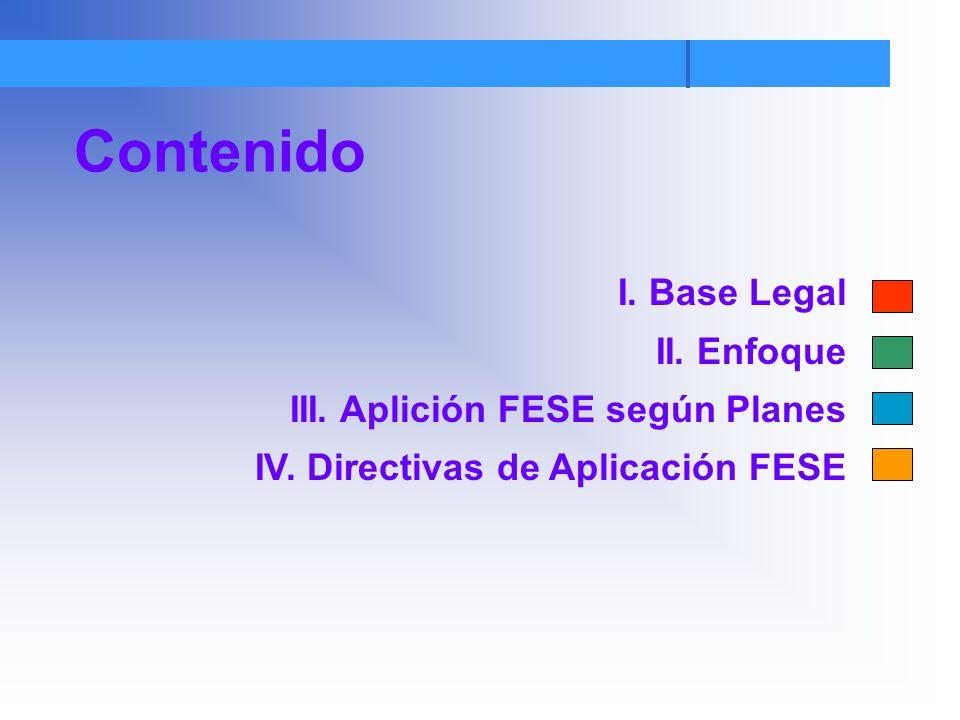 Contenido I. Base Legal II. Enfoque III. Aplición FESE según Planes IV. Directivas de Aplicación FESE