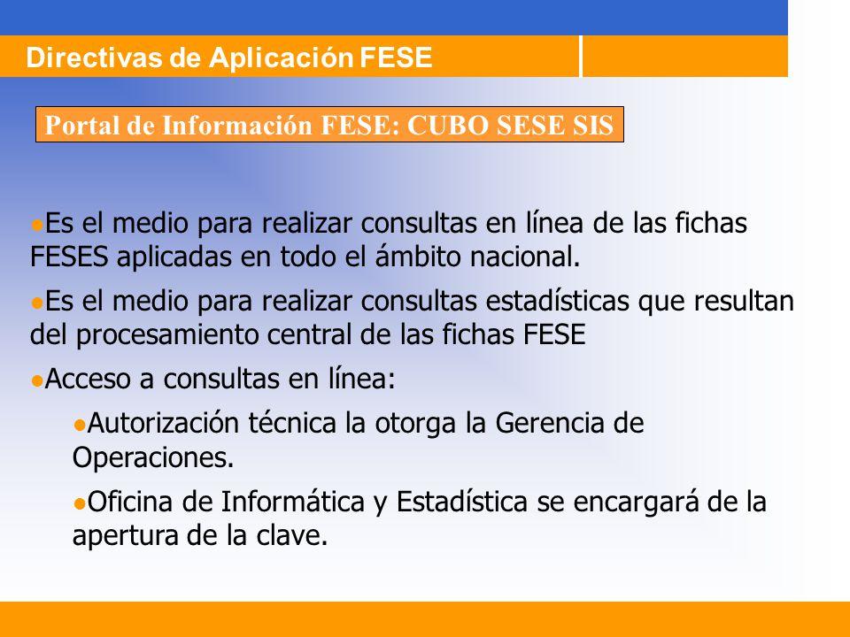 Directivas de Aplicación FESE Portal de Información FESE: CUBO SESE SIS Es el medio para realizar consultas en línea de las fichas FESES aplicadas en