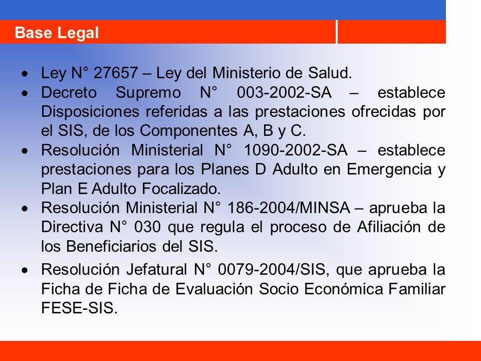 Base Legal Ley N° 27657 – Ley del Ministerio de Salud. Decreto Supremo N° 003-2002-SA – establece Disposiciones referidas a las prestaciones ofrecidas