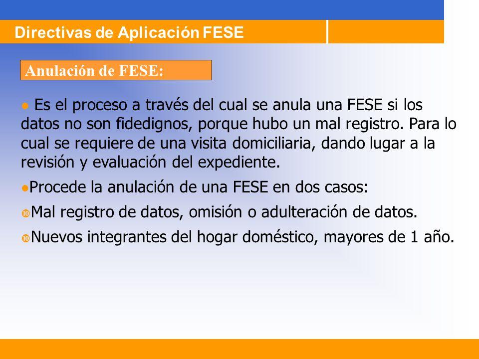 Es el proceso a través del cual se anula una FESE si los datos no son fidedignos, porque hubo un mal registro. Para lo cual se requiere de una visita