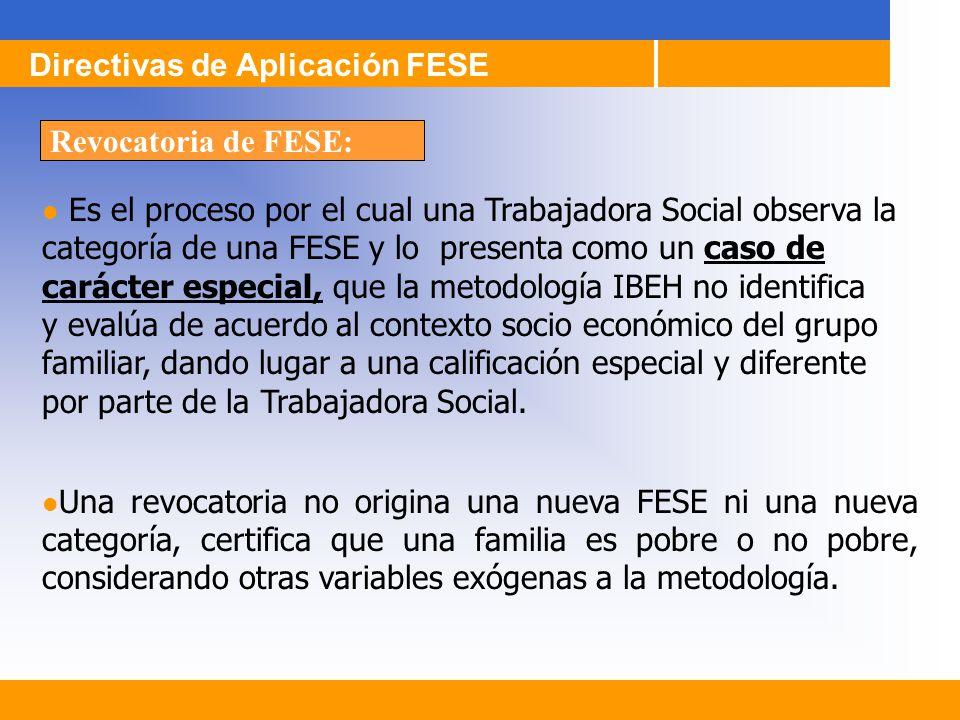 Es el proceso por el cual una Trabajadora Social observa la categoría de una FESE y lo presenta como un caso de carácter especial, que la metodología