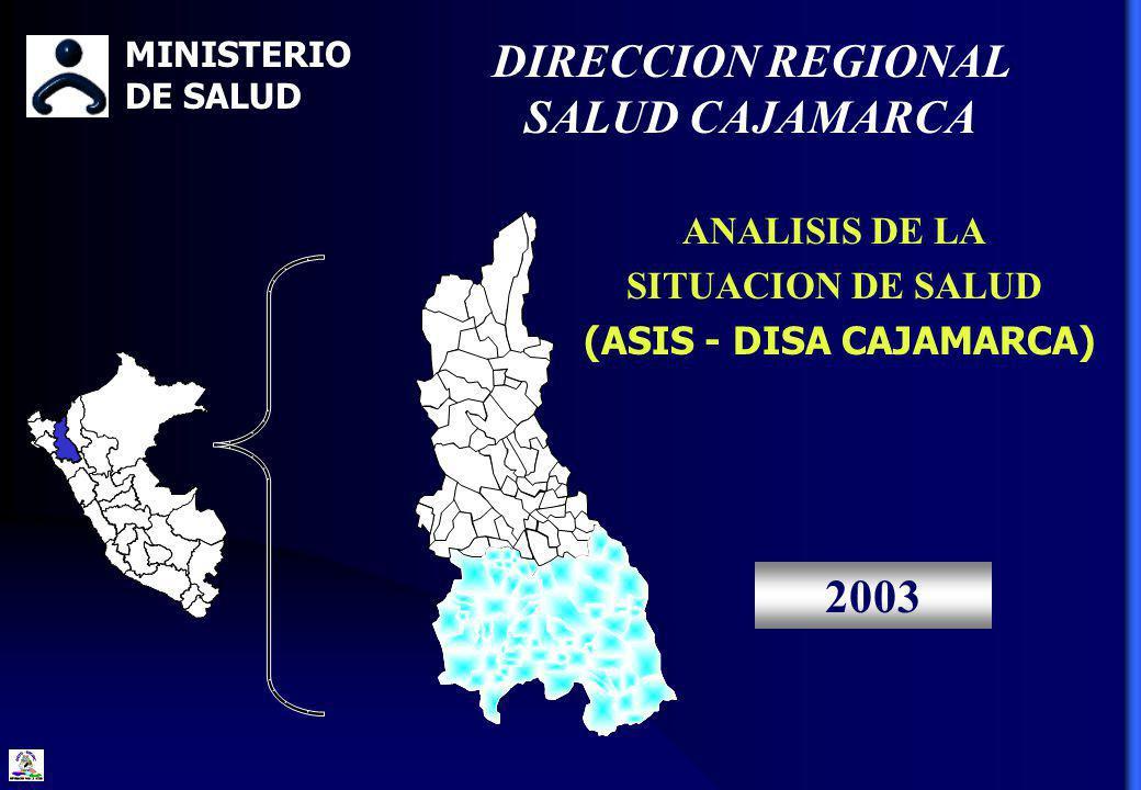 ANALISIS DE LA SITUACION DE SALUD (ASIS - DISA CAJAMARCA) 2003 MINISTERIO DE SALUD DIRECCION REGIONAL SALUD CAJAMARCA