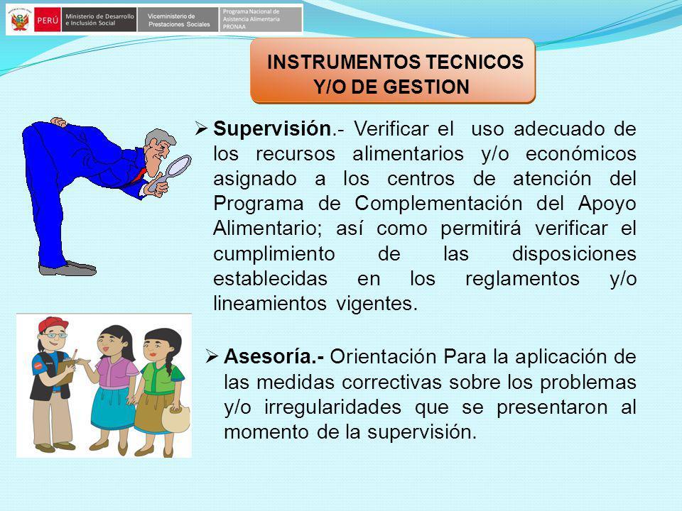 Supervisión.- Verificar el uso adecuado de los recursos alimentarios y/o económicos asignado a los centros de atención del Programa de Complementación