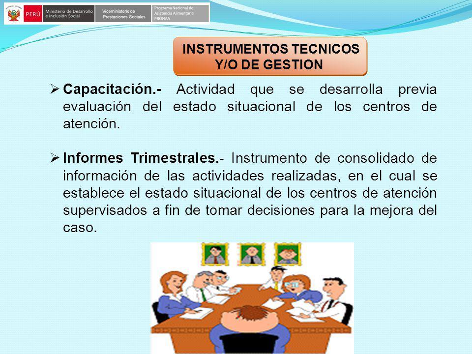 Capacitación.- Actividad que se desarrolla previa evaluación del estado situacional de los centros de atención. Informes Trimestrales.- Instrumento de