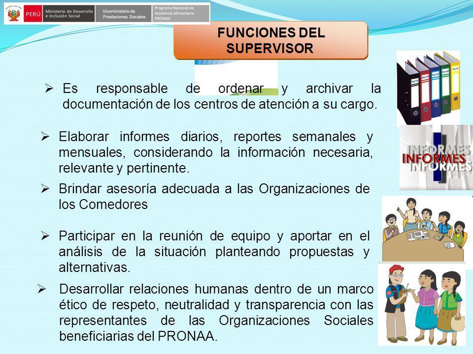 Es responsable de ordenar y archivar la documentación de los centros de atención a su cargo. Elaborar informes diarios, reportes semanales y mensuales