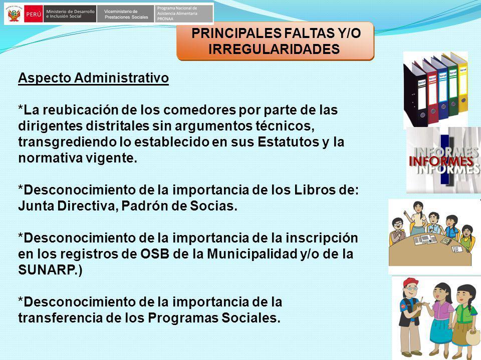 PRINCIPALES FALTAS Y/O IRREGULARIDADES Aspecto Administrativo *La reubicación de los comedores por parte de las dirigentes distritales sin argumentos