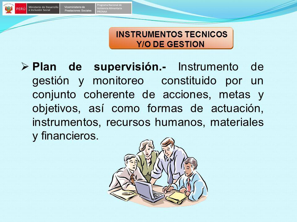 Plan de supervisión.- Instrumento de gestión y monitoreo constituido por un conjunto coherente de acciones, metas y objetivos, así como formas de actu