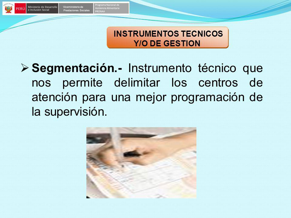 Segmentación.- Instrumento técnico que nos permite delimitar los centros de atención para una mejor programación de la supervisión. INSTRUMENTOS TECNI