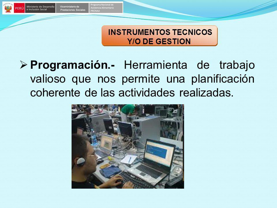 INSTRUMENTOS TECNICOS Y/O DE GESTION Programación.- Herramienta de trabajo valioso que nos permite una planificación coherente de las actividades real