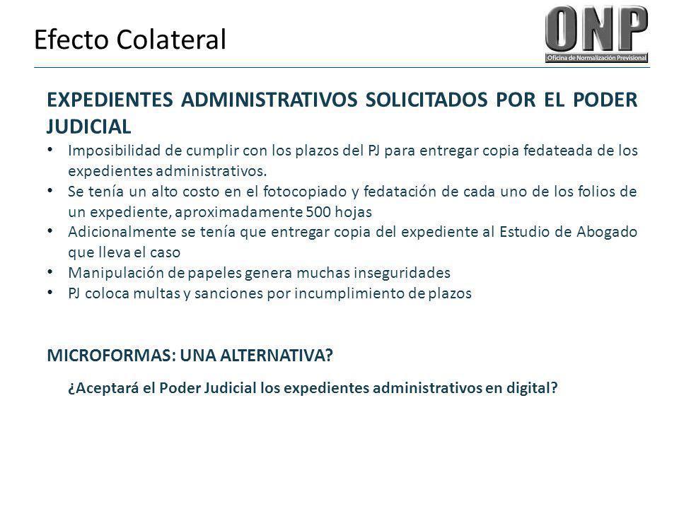 Efecto Colateral EXPEDIENTES ADMINISTRATIVOS SOLICITADOS POR EL PODER JUDICIAL Imposibilidad de cumplir con los plazos del PJ para entregar copia feda