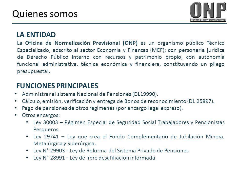 Quienes somos LA ENTIDAD La Oficina de Normalización Previsional (ONP) es un organismo público Técnico Especializado, adscrito al sector Economía y Fi