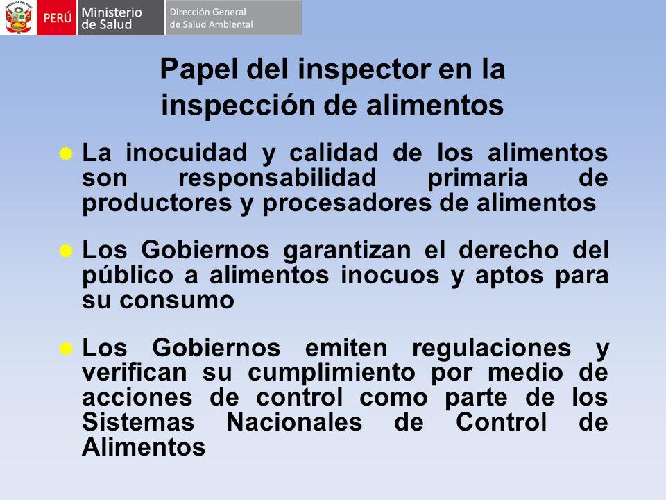 Papel del inspector en la inspección de alimentos La inocuidad y calidad de los alimentos son responsabilidad primaria de productores y procesadores d
