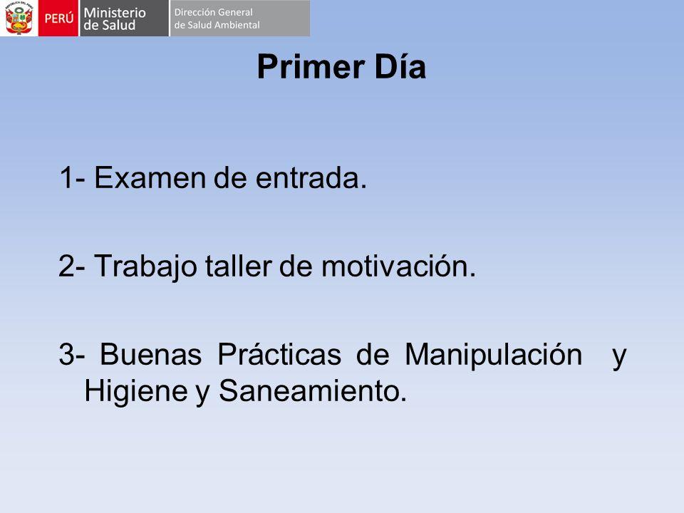 Primer Día 1- Examen de entrada. 2- Trabajo taller de motivación. 3- Buenas Prácticas de Manipulación y Higiene y Saneamiento.