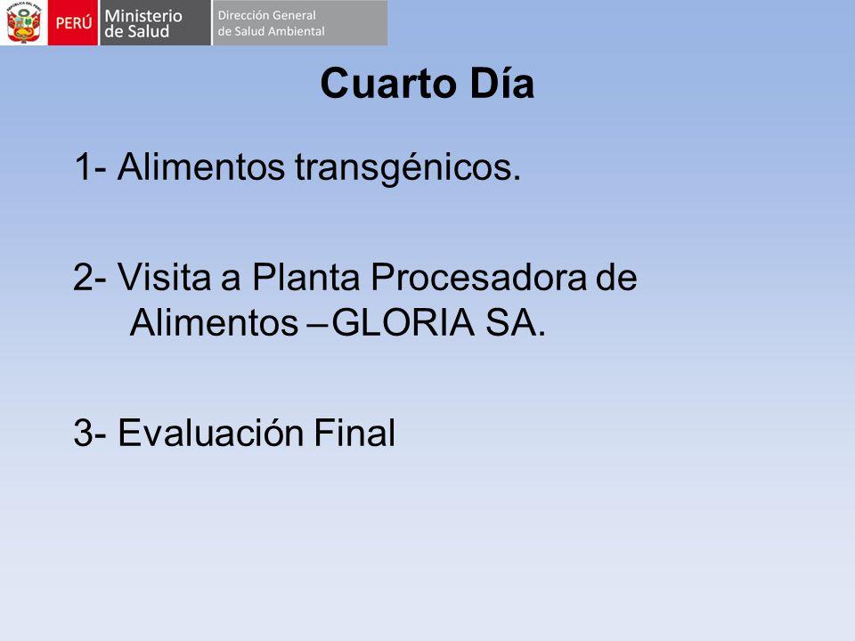 Cuarto Día 1- Alimentos transgénicos. 2- Visita a Planta Procesadora de Alimentos – GLORIA SA. 3- Evaluación Final
