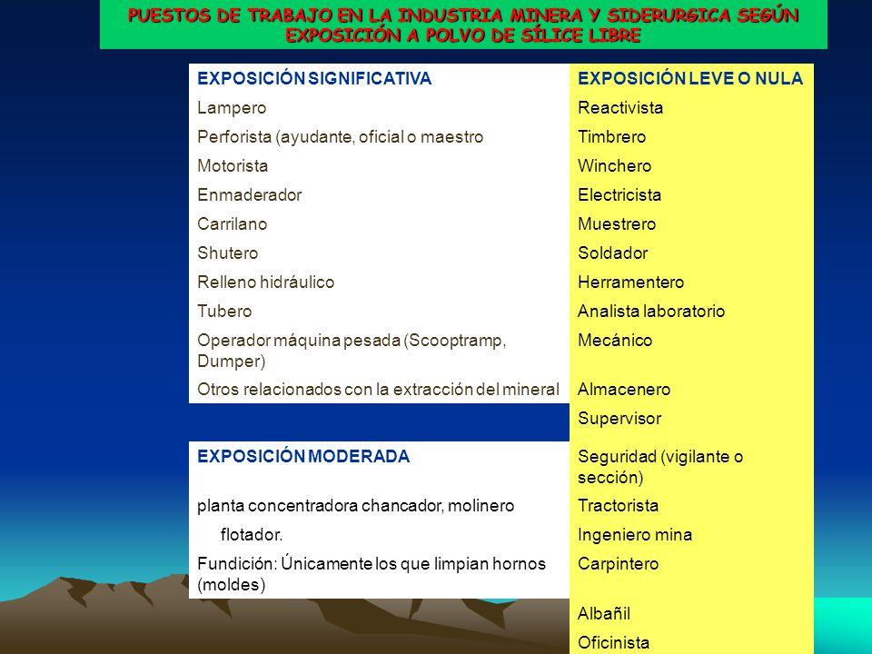 PUESTOS DE TRABAJO EN LA INDUSTRIA MINERA Y SIDERURGICA SEGÚN EXPOSICIÓN A POLVO DE SÍLICE LIBRE EXPOSICIÓN SIGNIFICATIVAEXPOSICIÓN LEVE O NULA LamperoReactivista Perforista (ayudante, oficial o maestroTimbrero MotoristaWinchero EnmaderadorElectricista CarrilanoMuestrero ShuteroSoldador Relleno hidráulicoHerramentero TuberoAnalista laboratorio Operador máquina pesada (Scooptramp, Dumper) Mecánico Otros relacionados con la extracción del mineralAlmacenero Supervisor EXPOSICIÓN MODERADASeguridad (vigilante o sección) planta concentradora chancador, molineroTractorista flotador.Ingeniero mina Fundición: Únicamente los que limpian hornos (moldes) Carpintero Albañil Oficinista