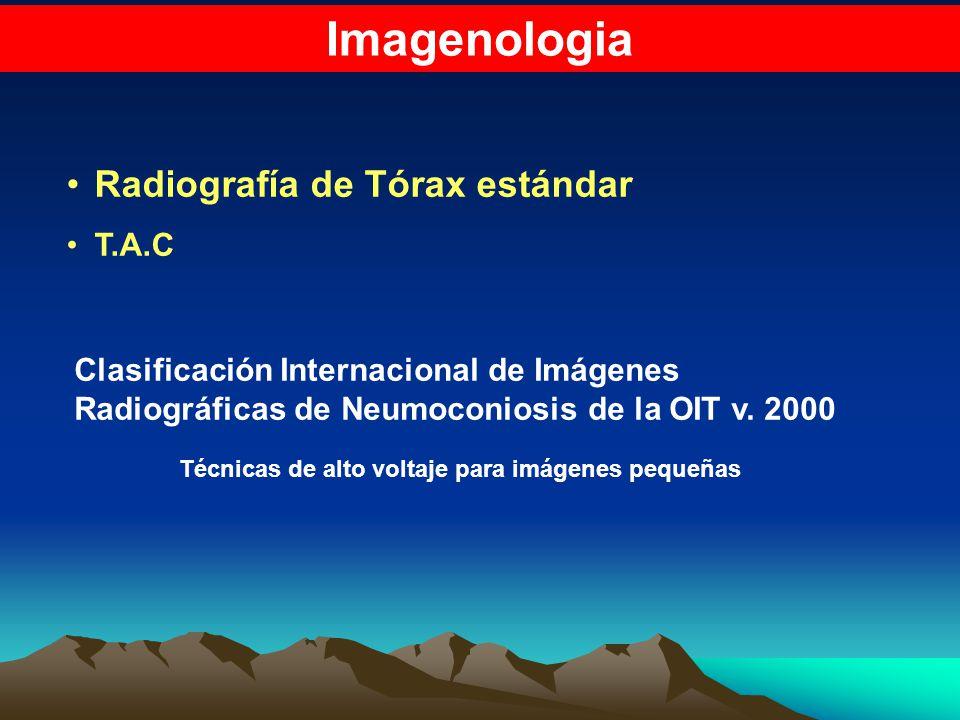 Imagenologia Radiografía de Tórax estándar T.A.C Clasificación Internacional de Imágenes Radiográficas de Neumoconiosis de la OIT v. 2000 Técnicas de