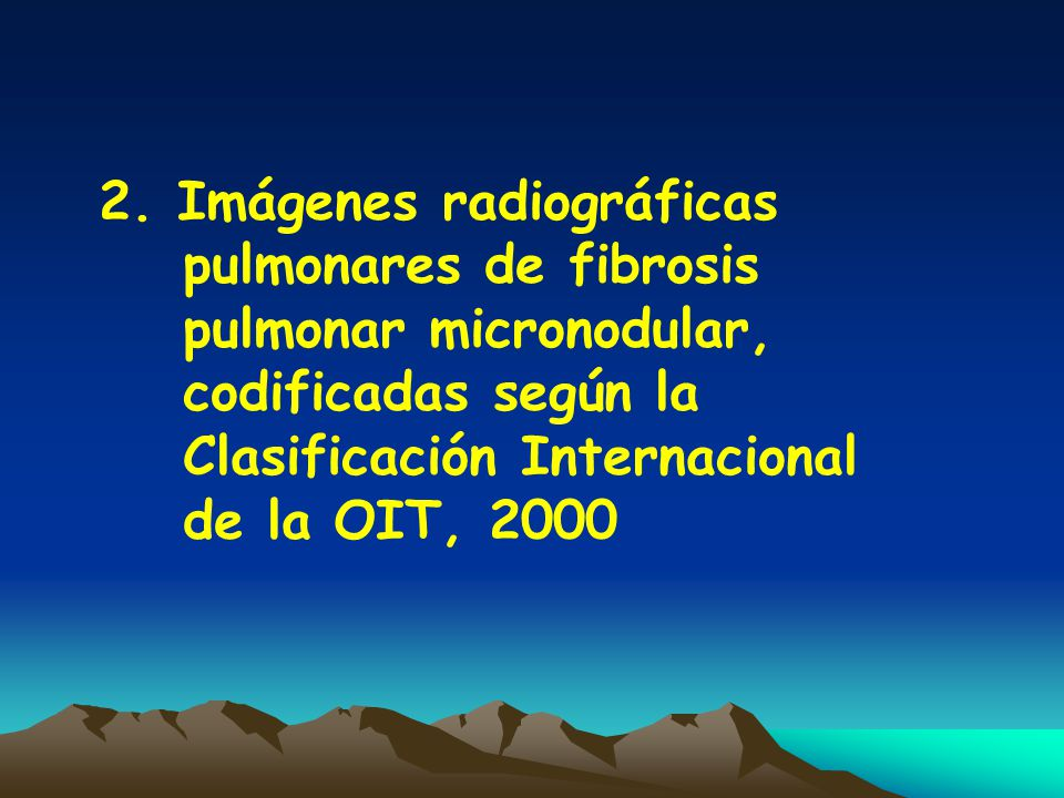 2. Imágenes radiográficas pulmonares de fibrosis pulmonar micronodular, codificadas según la Clasificación Internacional de la OIT, 2000