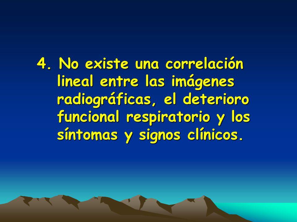 4. No existe una correlación lineal entre las imágenes radiográficas, el deterioro funcional respiratorio y los síntomas y signos clínicos.