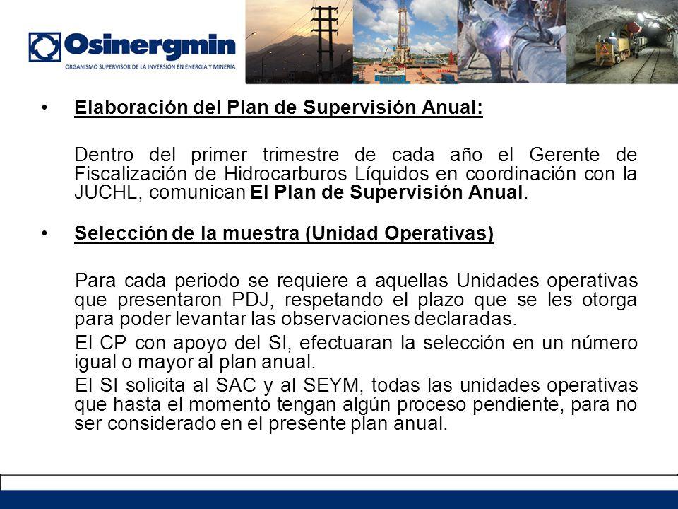 Elaboración del Plan de Supervisión Anual: Dentro del primer trimestre de cada año el Gerente de Fiscalización de Hidrocarburos Líquidos en coordinación con la JUCHL, comunican El Plan de Supervisión Anual.