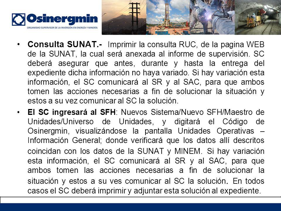 Consulta SUNAT.- Imprimir la consulta RUC, de la pagina WEB de la SUNAT, la cual será anexada al informe de supervisión. SC deberá asegurar que antes,
