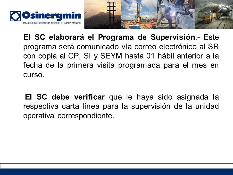El SC elaborará el Programa de Supervisión.- Este programa será comunicado vía correo electrónico al SR con copia al CP, SI y SEYM hasta 01 hábil ante