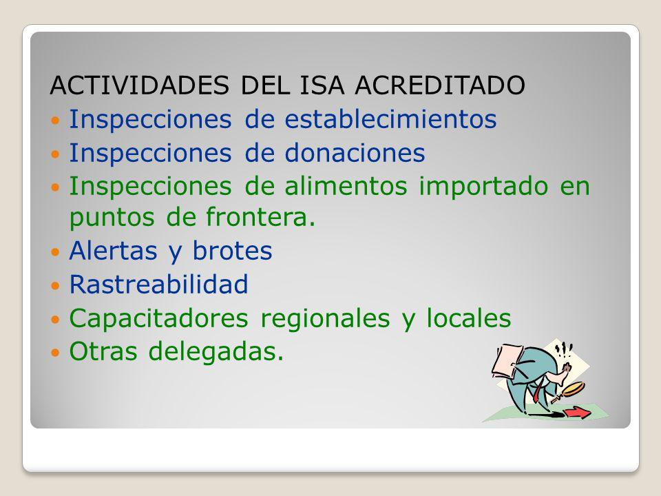 ACTIVIDADES DEL ISA ACREDITADO Inspecciones de establecimientos Inspecciones de donaciones Inspecciones de alimentos importado en puntos de frontera.