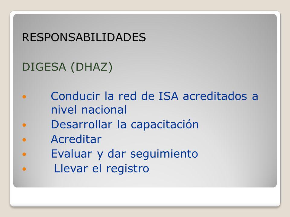 RESPONSABILIDADES DIGESA (DHAZ) Conducir la red de ISA acreditados a nivel nacional Desarrollar la capacitación Acreditar Evaluar y dar seguimiento Llevar el registro