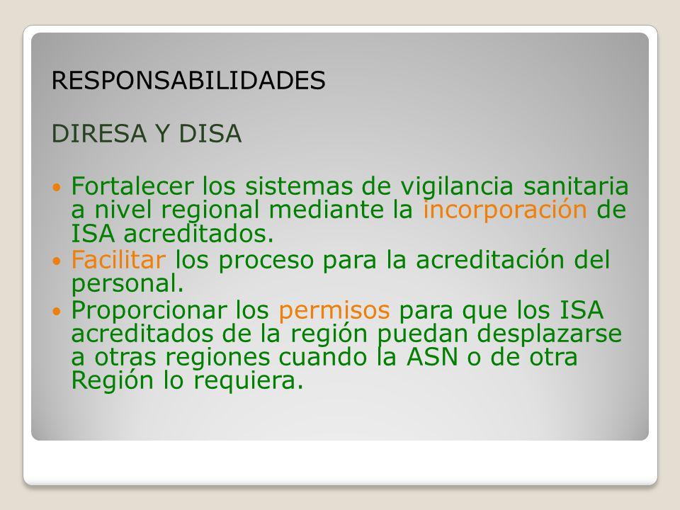 RESPONSABILIDADES DIRESA Y DISA Fortalecer los sistemas de vigilancia sanitaria a nivel regional mediante la incorporación de ISA acreditados.