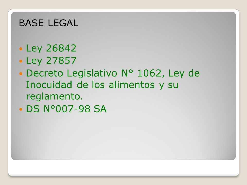 BASE LEGAL Ley 26842 Ley 27857 Decreto Legislativo N° 1062, Ley de Inocuidad de los alimentos y su reglamento. DS N°007-98 SA