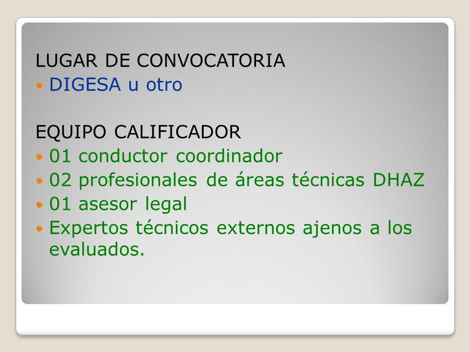 LUGAR DE CONVOCATORIA DIGESA u otro EQUIPO CALIFICADOR 01 conductor coordinador 02 profesionales de áreas técnicas DHAZ 01 asesor legal Expertos técnicos externos ajenos a los evaluados.