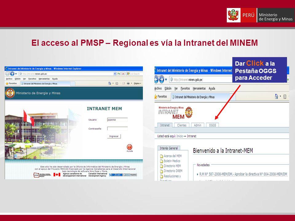 El acceso al PMSP – Regional es vía la Intranet del MINEM Dar Click a la Pestaña OGGS para Acceder