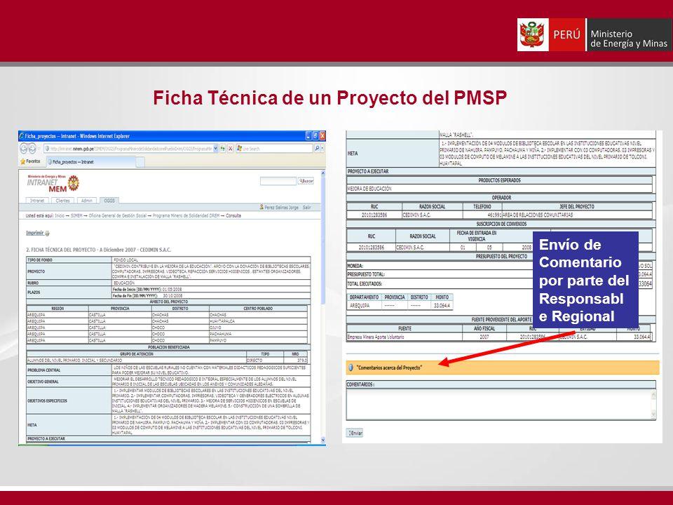 Ficha Técnica de un Proyecto del PMSP Envío de Comentario por parte del Responsabl e Regional