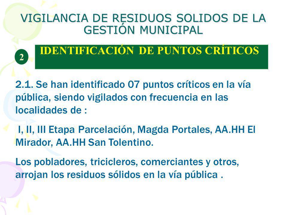 VIGILANCIA DE RESIDUOS SOLIDOS DE LA GESTIÓN MUNICIPAL IDENTIFICACIÓN DE PUNTOS CRÍTICOS 2 2.1. Se han identificado 07 puntos críticos en la vía públi