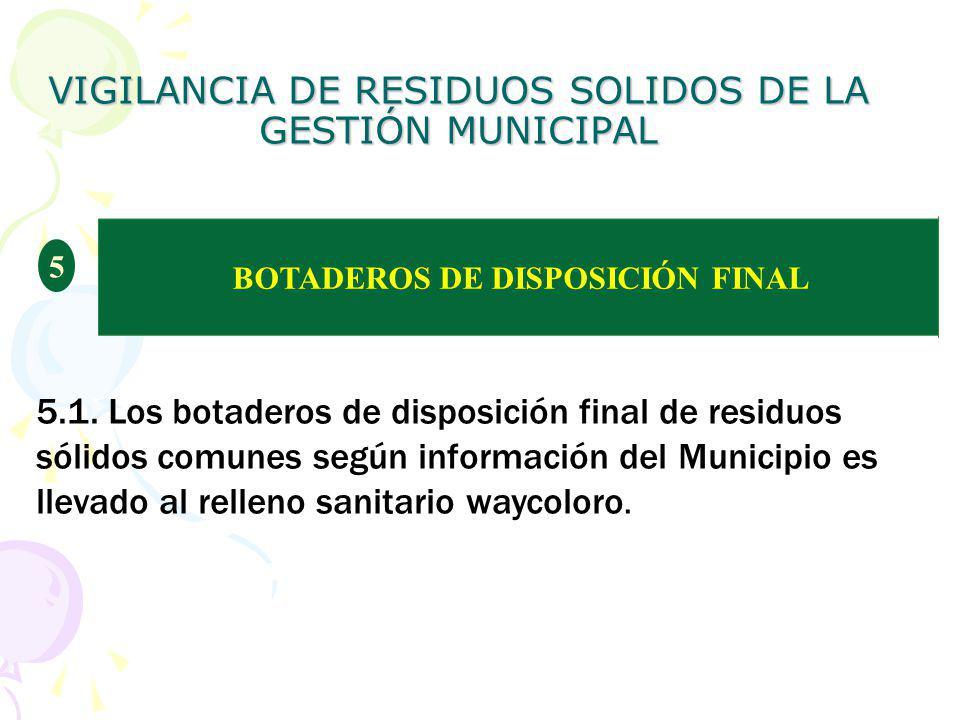 VIGILANCIA DE RESIDUOS SOLIDOS DE LA GESTIÓN MUNICIPAL BOTADEROS DE DISPOSICIÓN FINAL 5 5.1. Los botaderos de disposición final de residuos sólidos co