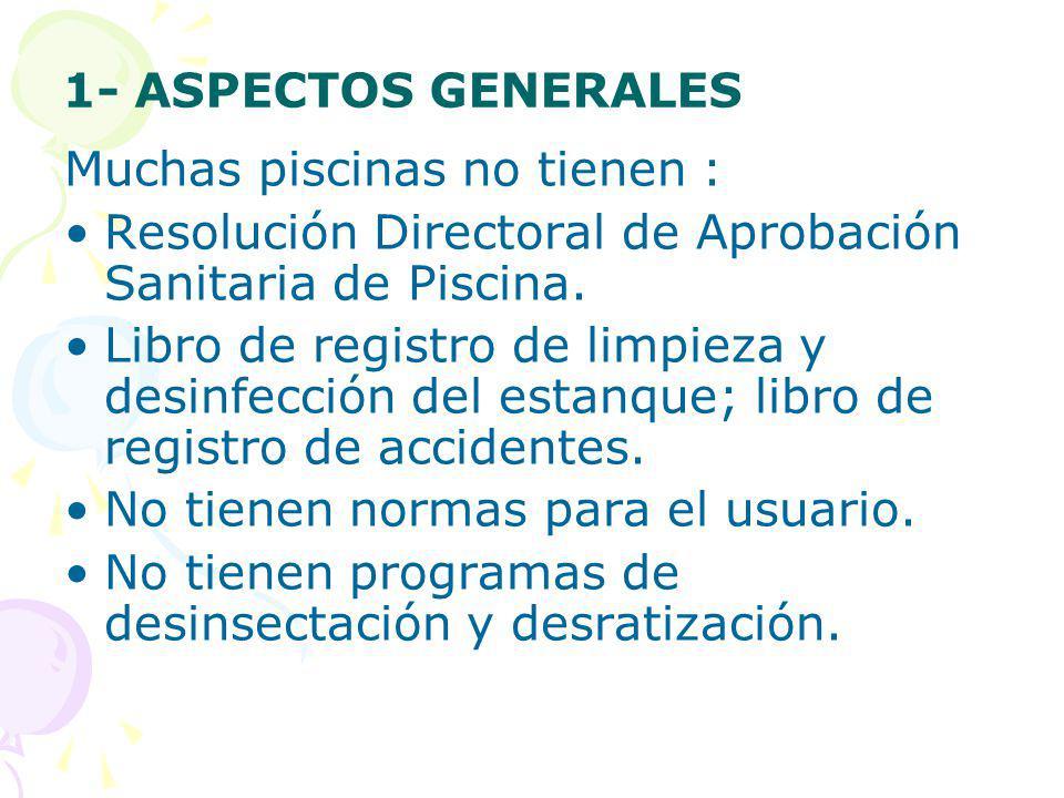 1- ASPECTOS GENERALES Muchas piscinas no tienen : Resolución Directoral de Aprobación Sanitaria de Piscina. Libro de registro de limpieza y desinfecci