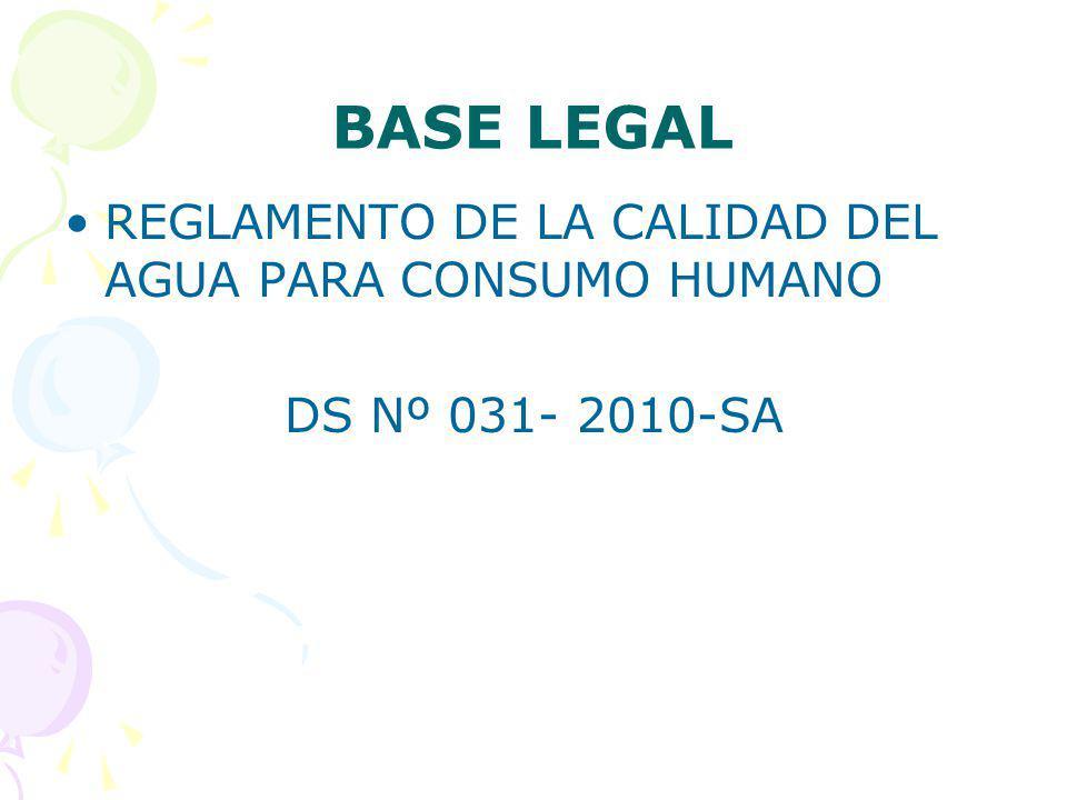 BASE LEGAL REGLAMENTO DE LA CALIDAD DEL AGUA PARA CONSUMO HUMANO DS Nº 031- 2010-SA