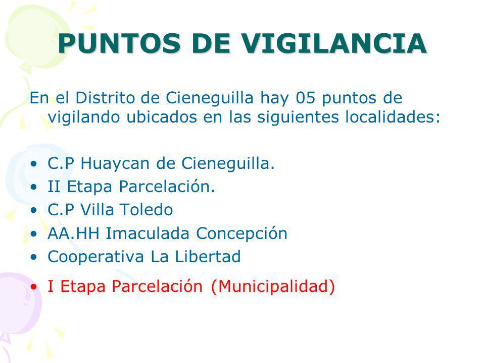 PUNTOS DE VIGILANCIA En el Distrito de Cieneguilla hay 05 puntos de vigilando ubicados en las siguientes localidades: C.P Huaycan de Cieneguilla. II E