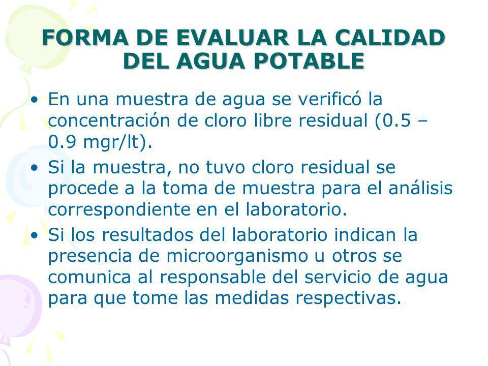 FORMA DE EVALUAR LA CALIDAD DEL AGUA POTABLE En una muestra de agua se verificó la concentración de cloro libre residual (0.5 – 0.9 mgr/lt).