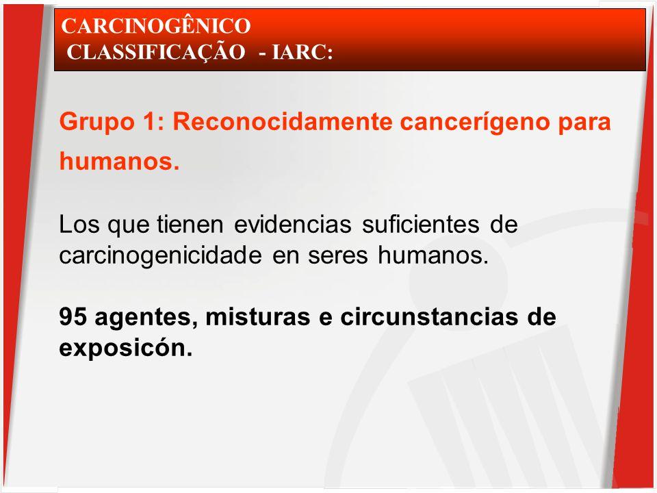 CARCINOGÊNICO CLASSIFICAÇÃO - IARC: Grupo 1: Reconocidamente cancerígeno para humanos.