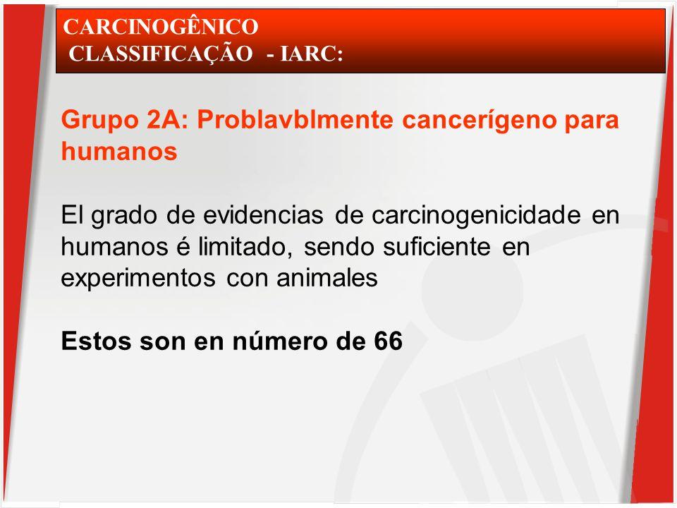 CARCINOGÊNICO CLASSIFICAÇÃO - IARC: Grupo 2A: Problavblmente cancerígeno para humanos El grado de evidencias de carcinogenicidade en humanos é limitado, sendo suficiente en experimentos con animales Estos son en número de 66