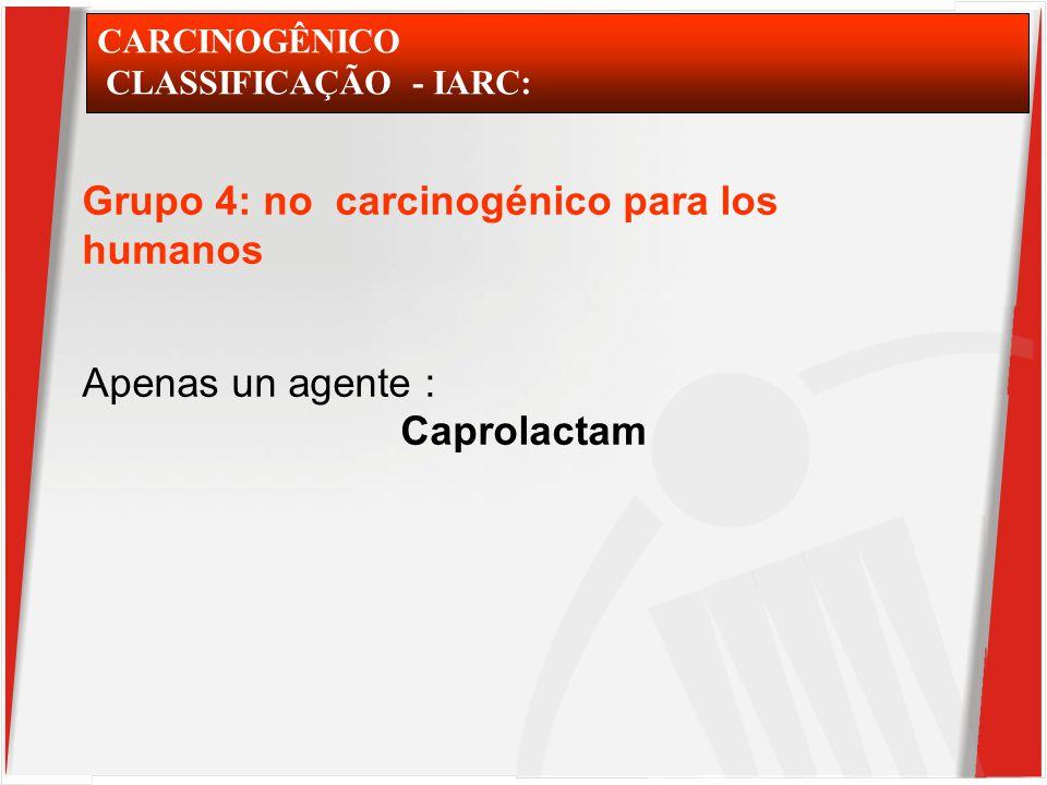 CARCINOGÊNICO CLASSIFICAÇÃO - IARC: Grupo 4: no carcinogénico para los humanos Apenas un agente : Caprolactam