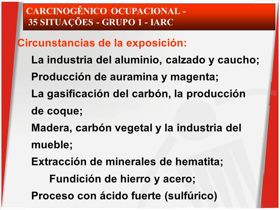 CARCINOGÊNICO OCUPACIONAL - 35 SITUAÇÕES - GRUPO 1 - IARC Circunstancias de la exposición: La industria del aluminio, calzado y caucho; Producción de auramina y magenta; La gasificación del carbón, la producción de coque; Madera, carbón vegetal y la industria del mueble; Extracción de minerales de hematita; Fundición de hierro y acero; Proceso con ácido fuerte (sulfúrico)
