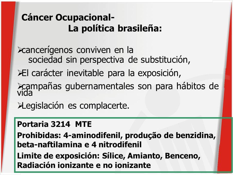 cancerígenos conviven en la sociedad sin perspectiva de substitución, El carácter inevitable para la exposición, campañas gubernamentales son para hábitos de vida Legislación es complacerte.