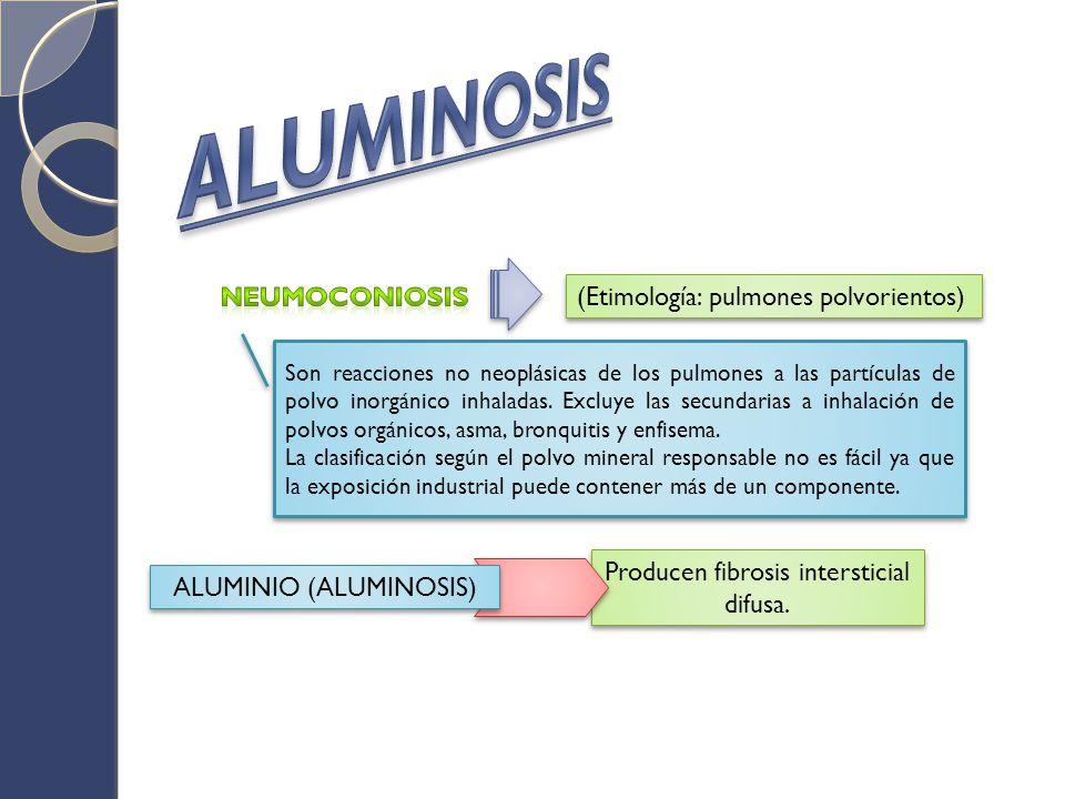 La aluminosis, enfermedad profesional de poca frecuencia en el mundo, aparece después de la exposición prolongada a la inhalación de humos de bauxita o metal de aluminio, el cual provoca la reacción hística del intersticio del pulmón, que puede llegar hasta la fibrosis, lo cual ha hecho considerarla por muchos anos como una neumoconiosis.
