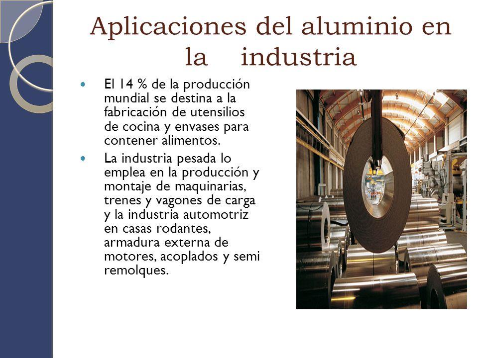 Aplicaciones del aluminio en la industria El 14 % de la producción mundial se destina a la fabricación de utensilios de cocina y envases para contener alimentos.