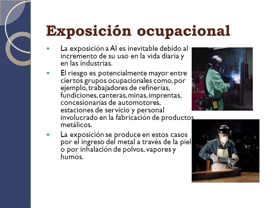 OTRAS FUENTES DE EXPOSICIÓN La exposición a Al también puede ser el resultado del uso de compuestos del metal en la manufactura de cosméticos y productos de higiene personal.